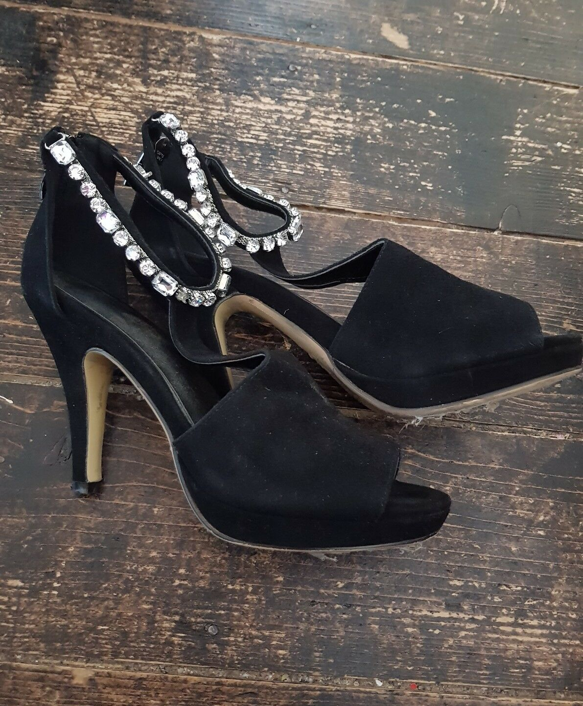 Ladies Black Diamonte Heels High Heels Diamonte Size 3 b09159