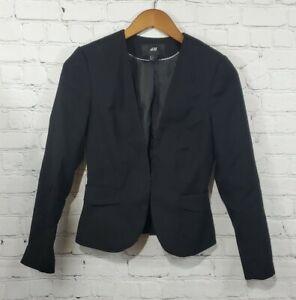 H&M Black Long Sleeve V Neck Blazer Jacket Women's Size 4