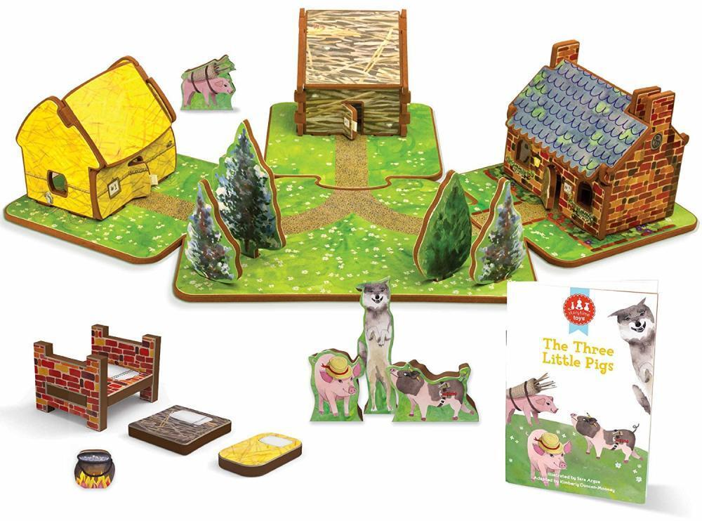 Doll House 3 Little Pigs Toy Storybook Play Set Gift Boy Girl Toddler Gift NEW