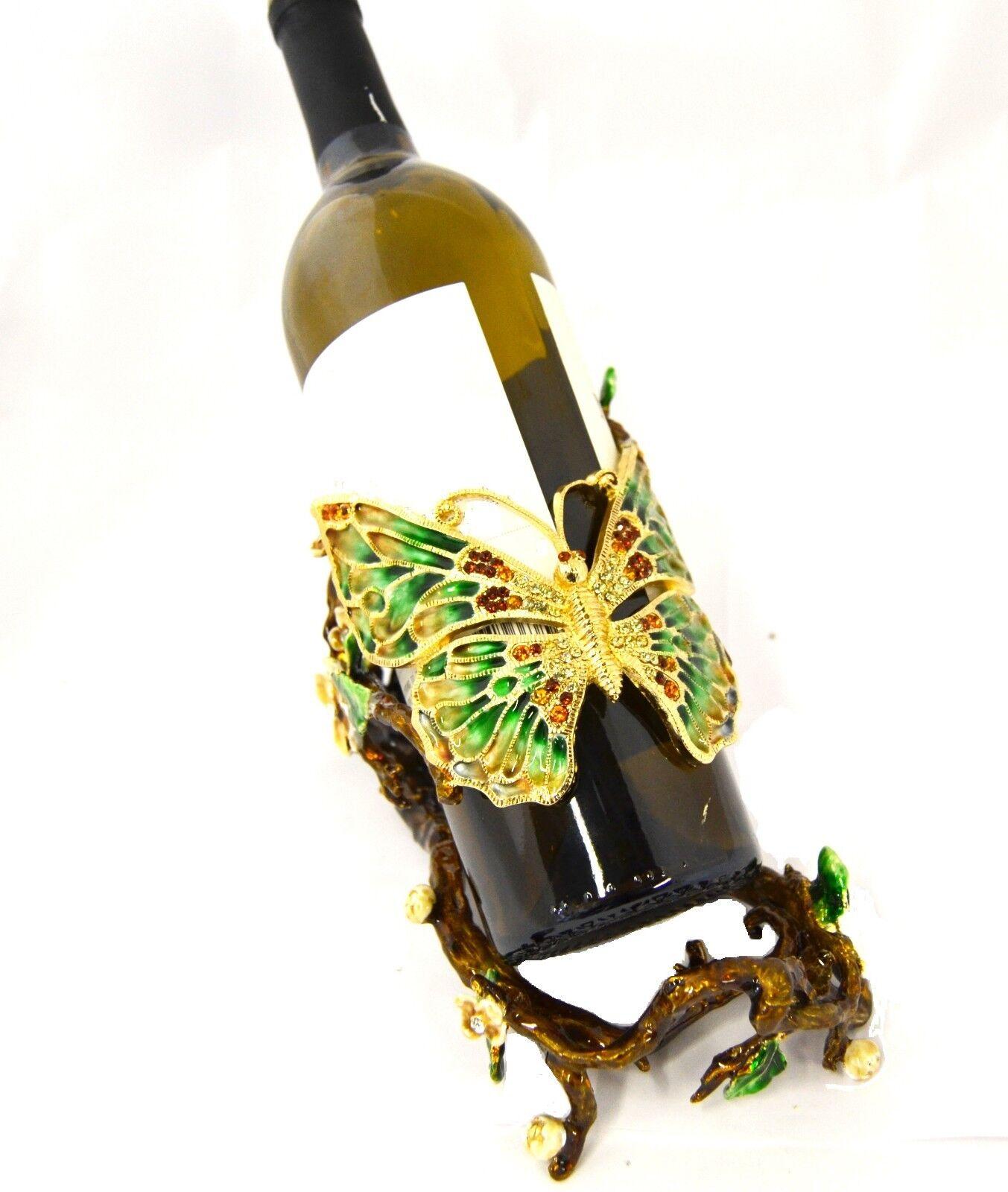 Porte bouteille vin avec papillon design fait main avec émail cristal Swarovski