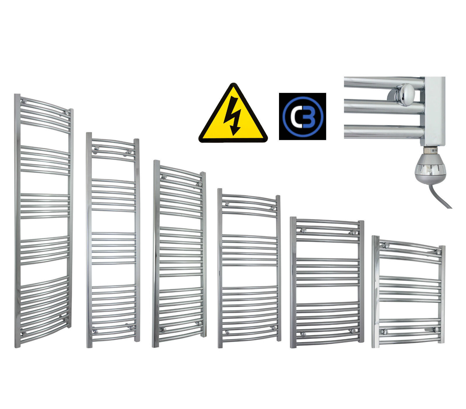 500mm Wide Chrome Electric Heated Towel Rail Radiator Prefilled Thermostatic