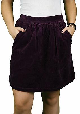 STEVEN ALAN Women/'s Ella Plum Corduroy Pleated Pocket Skirt WSK03CB NWT $168