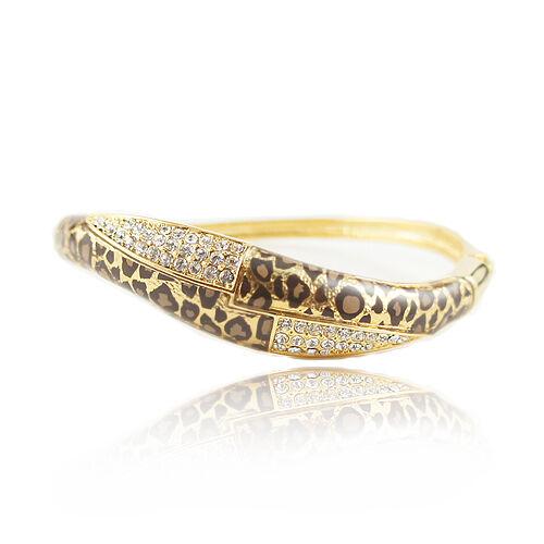 18k Gold GF leopard with Swarovski crystals solid bangle bracelet