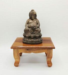 MEDIUM THAI BUDDHA STATUE WOOD TABLE ALTAR AMULET STAND HOME DECOR ...