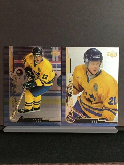 1999-00 Henrik and Daniel Sedin Young Guns Rookie Upper Deck RC Sweden Canucks