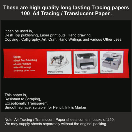 100 A3 TRANSLUCENT TRACING PAPER 95gsm FOR ART,CRAFT,COPYING OR CALLIGRAPHY ETC