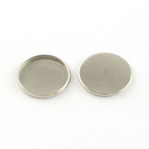 100pcs Stainless Steel Pendant Cabochon Setting Flat Round 22x2mm Findings