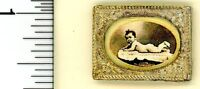 Dollhouse Miniature Vintage Baby Sepia Print In Gold Frame