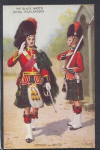 Military Postcard - Black Watch Royal Highlanders, Officer & Sentry RS15064