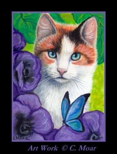 Calico Cat Blue Butterfly Flowers Garden ACEO Limited Edition mini Art Print