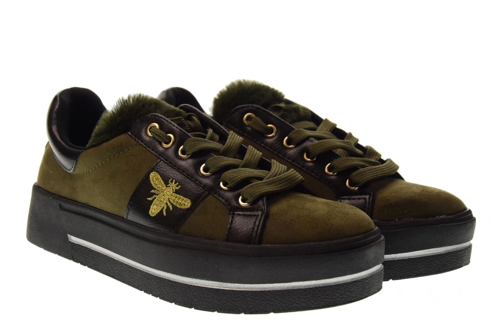 B3d shoes A18u shoes woman low platform sneakers 41577 khaki