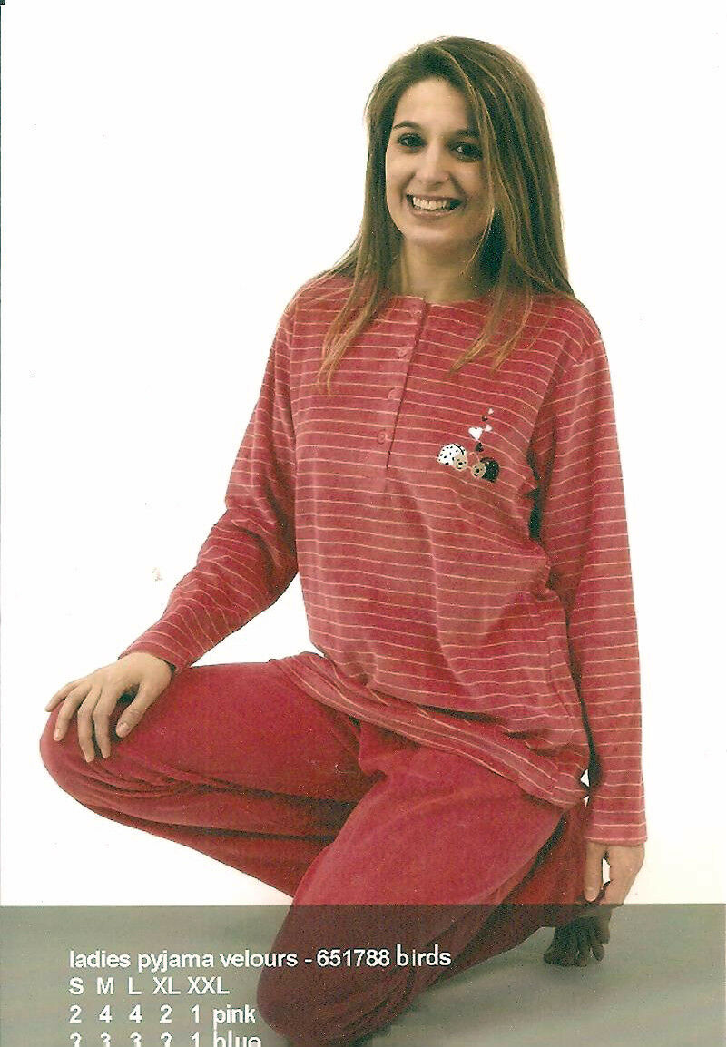 PYJAMA FEMME VELOURS COCO DREAM   MARQUE BELGE COL ROND + 4 BOUTONS
