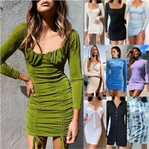 Women-Long-Sleeve-Mini-Dress-Ladies-Evening-Party-Cocktail-Sexy-Bodycon-Dresses
