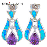 OE658UK Fine Blue&Purple Fire Opal Silver Stamped Fashion Jewelry Drop Earrings