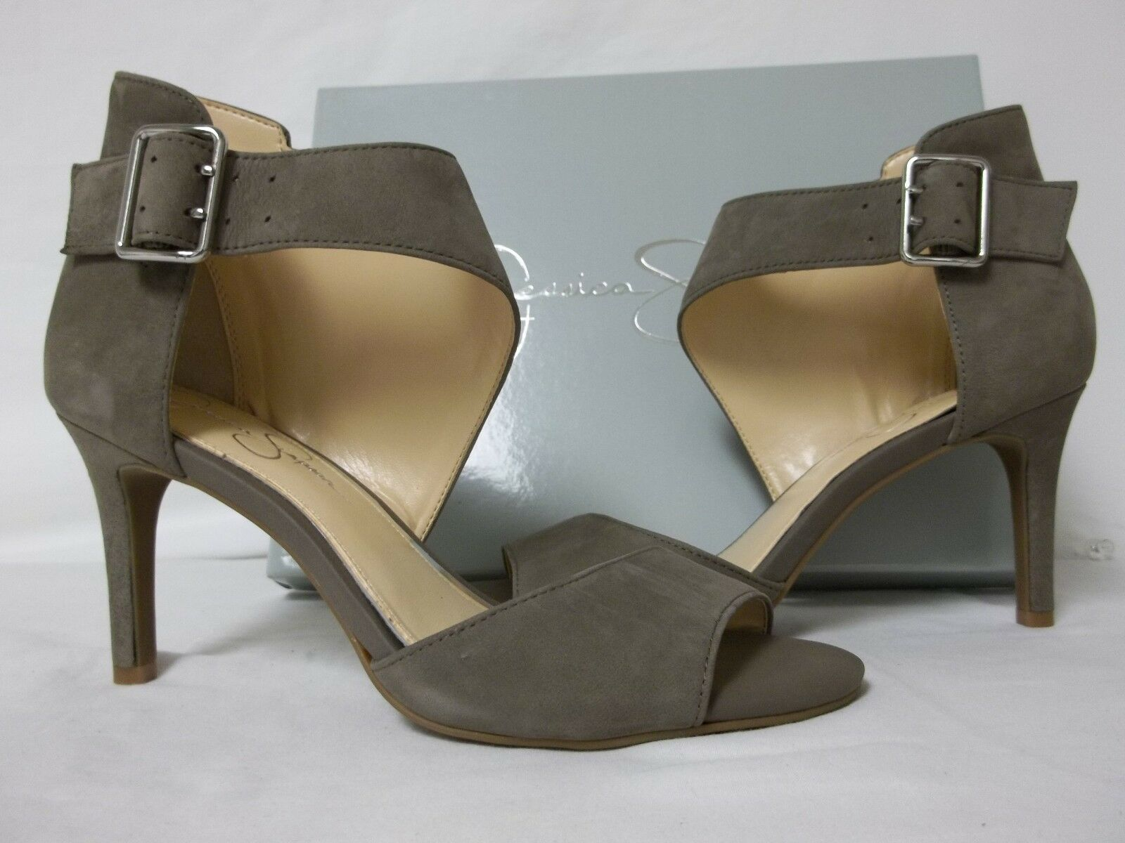 vendita calda online Jessica Simpson 8.5 M Marrionn Taupe Leather Open Open Open Toe Heels New donna scarpe  grande vendita