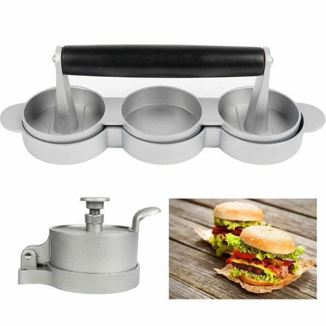 NonStick Round Shape Grill Barbecue Burger Press Aluminum Hamburger Meat Beef Maker Patty Mold Making Tool for Sliders Homemade Barbecue Irons Kitchen Burger Press Make
