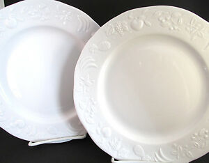 ... 2-Apilco-White-Porcelain-Embossed-Fruit-Salad-Plates- & 2 Apilco White Porcelain Embossed Fruit Salad Plates~9 Avail~Limoges ...