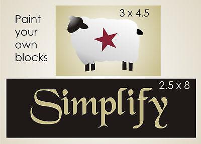 Stencil Primitive Woolen Sheep Heart Star Border Country Folk Art Signs U Paint