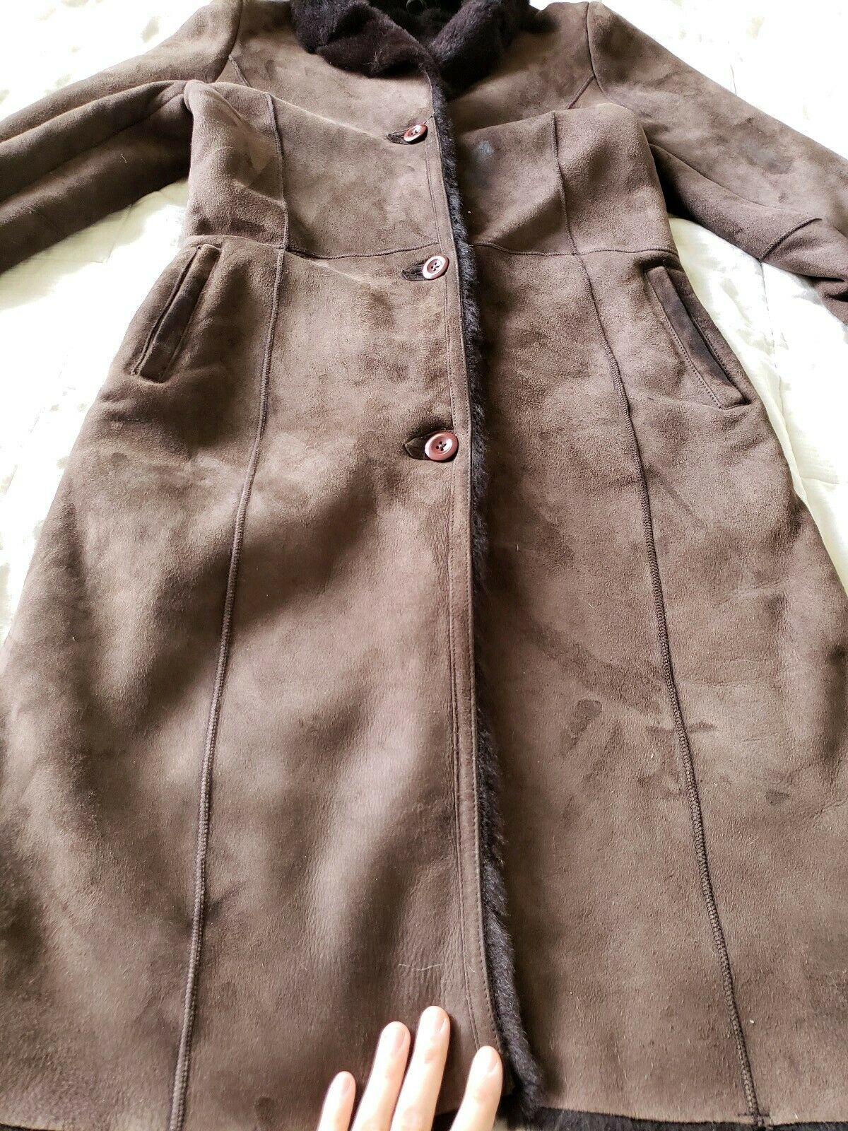 The Limited genuine full length shearling coat sl… - image 9