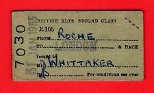 Railway Ticket ~ BR 2nd Class Free - Roche to London & back - 1965