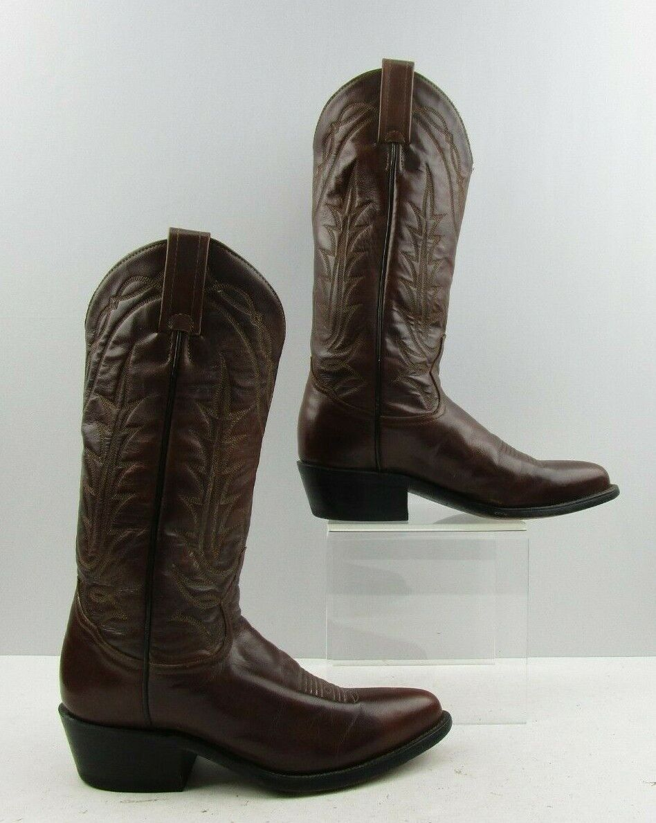 Ladies Tony Lama Brown Leather Pointed Toe Western Boots Size   5.5 C WIDE