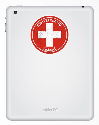 2 X 10cm Gstaad Suiza Pegatinas de vinilo bandera de Suiza Pegatina de equipaje #30260