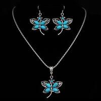 Butterfly Dragonfly Blue Silver Tone Women Fashion Jewelry Necklace Earring Set