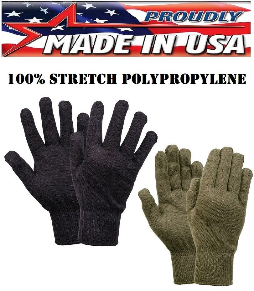 Winter Glove Black Wool Blend Liner Cold Weather Military Blank Gloves UNISEX