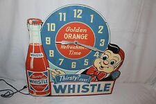 "Rare Vintage 1940's Whistle Orange Soda Pop Gas Oil 24"" Clock Sign~Nice & Works"