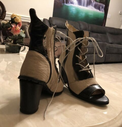 Lace Eject Up Sz 36 Off Bootie teen Zip Out Black White Cut Open FzSHFq