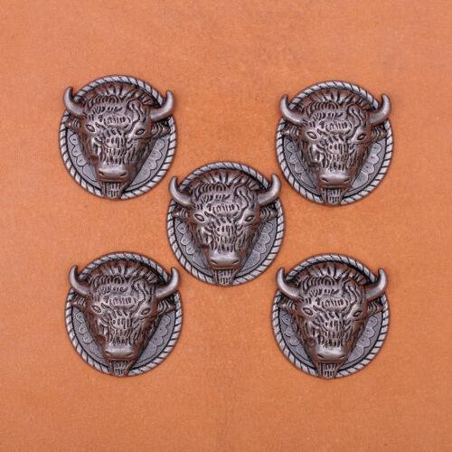25*26mm 10pcs COWBOY BULL SADDLE ANTIQUE SILVER LEATHER BELT RIVETBACK CONCHOS