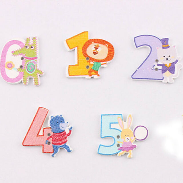 50pcs DIY Sewing Craft Wooden Button Cute Numbers Clothes Scrapbooking Decor