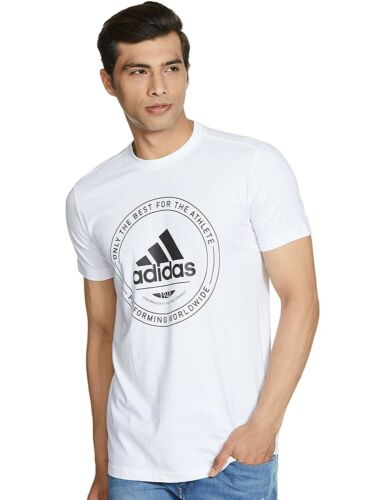 Men/'s Adidas Adi Emblem Logo T-Shirt Top White New