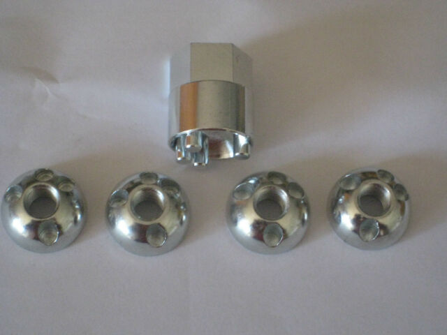Anti Theft/Security Nuts. 8mm / M8 Thread for LED Lightbars 1 Key and 4 x Nuts