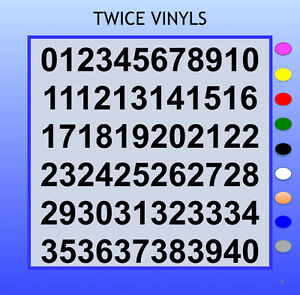 SELF ADHESIVE NUMBERS stickers graphics COMIC SAN 30 OR 40mm 1-40 vinyl set
