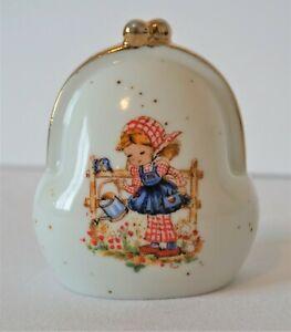 Ceramic-Coin-Purse-Piggy-Bag-Flower-Garden-Girl-Vintage-Gold-Edging-VHTF
