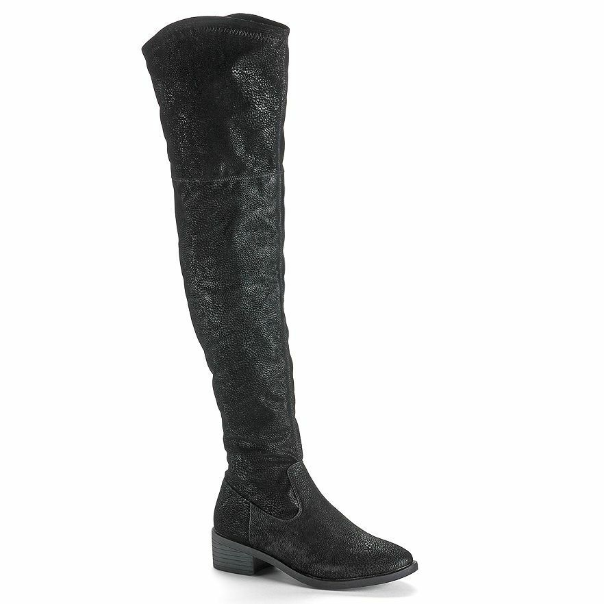 ROCK & REPUBLIC Womens Black OVER THE KNEE BOOT Faux Suede Snakeskin Biker Goth