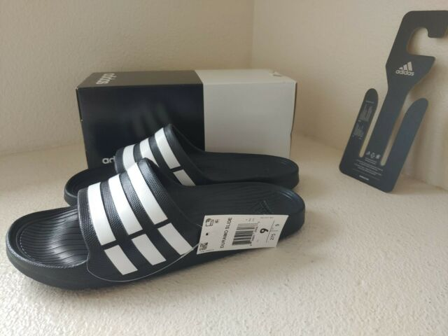 Sin cabeza cinta Iniciativa  adidas Duramo Slide Adilette Bath Sandals Sandal Slippers Black G15890 UK  10 for sale online | eBay