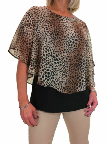 ICE Womens Cape Style Top Leopard Chiffon Black Under Brown Beige 10-22