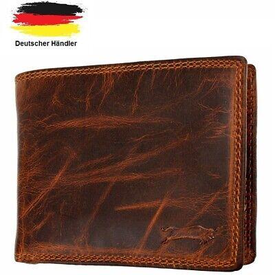 Ven Tomy Geldbörse RFID-Schutz Portemonnaie Vintage Echt Leder Geldbeutel Braun
