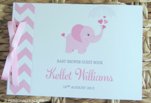 PINK /& GREY PERSONALISED CHEVRON ELEPHANT BABY SHOWER GUEST BOOK