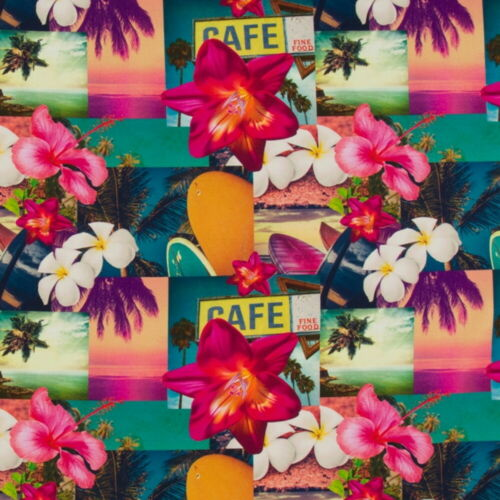 Sustancia METERWARE tropical cafe algodón flores hibiscus cortina almohada decorativas