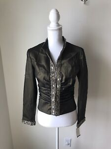 Tadashi-Women-s-Top-Size-6-NWT-Bronze-Embellished-Formal-Wear-Long-Sleeve