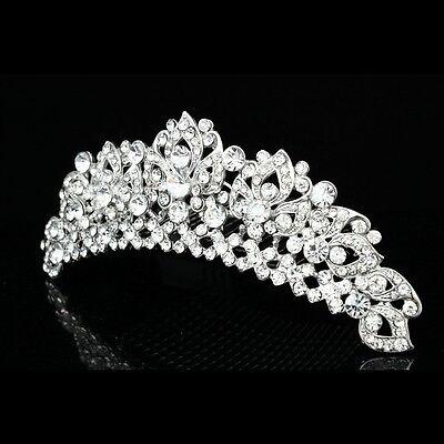 Handmade Bridal Rhinestone Crystal Flower Prom Wedding Tiara Hair Comb 8939