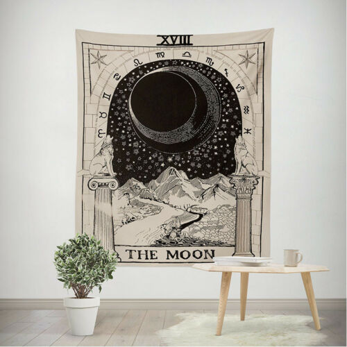 Amkun Tarot Wall Tapestry The Moon Star and Sun Medieval Europe Divination