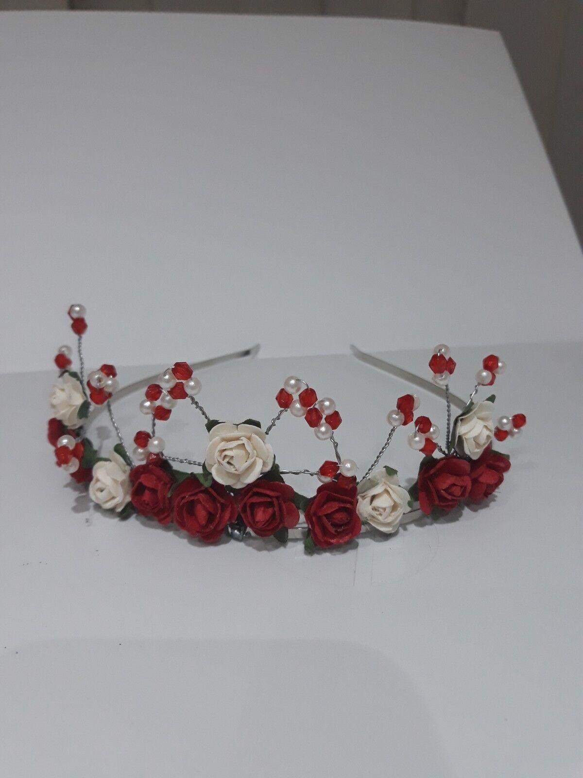 NEW stunning ivory red rose crystal tiara