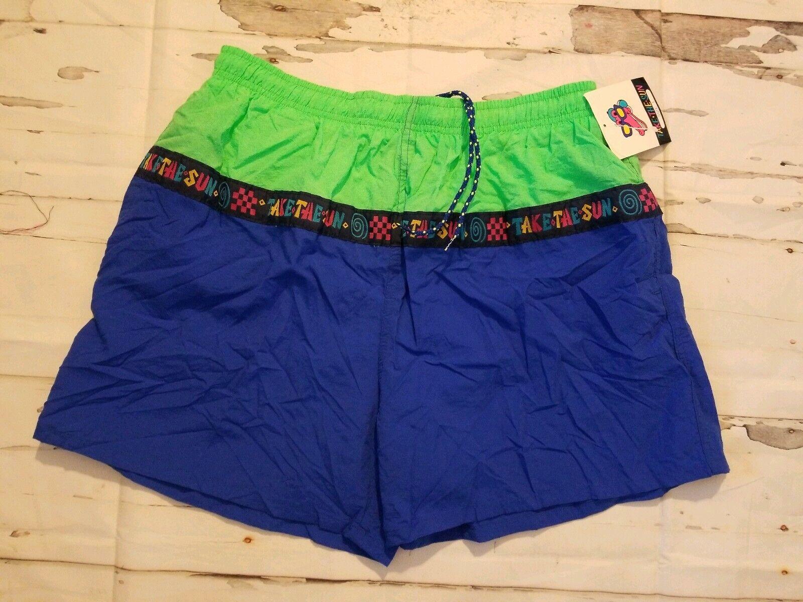 Vtg 90s Color Block Take the Sun Funky Swim Trunks Baggies Shorts NWT L Retro