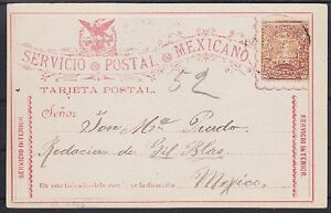 Mexiko-3-C-alte-Ganzsache-gel-in-Mexico-1896-GA-Klassik