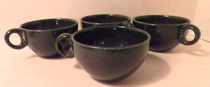 Four-Russel-Wright-China-Iroquois-Casual-Pottery-Dark-Green-Cups-Dinnerware