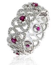 Diamond Eternity Wedding Ring 1.55ct Ruby F VS Brilliant Cut 18ct White Gold
